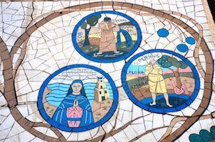 Biblical mosaics on a walkway